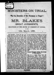 Cover of: Ministers on trial | Blake, Edward