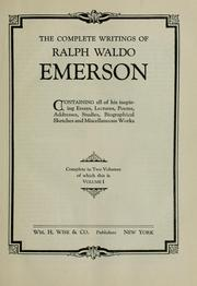 Cover of: The complete writings of Ralph Waldo Emerson | Ralph Waldo Emerson