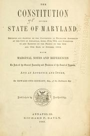 Cover of: constitution of the state of Maryland. | Maryland.