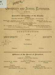 Cover of: Constitution of the University society | University and school extension
