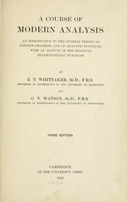 Cover of: A course of modern analysis | E. T. Whittaker