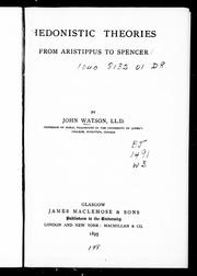 Cover of: Hedonistic theories from Aristippus to Spencer |