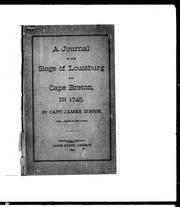 Cover of: A journal of the siege of Louisbourg and Cape Breton in 1745 |