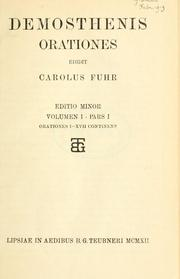 Cover of: Demosthenis orationes edidit Carolus Fuhr | Demosthenes