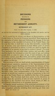 Cover of: Decisions relating to pensions and retirement annuity ... | United States Civil Service Commission.