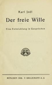 Cover of: Der freie Wille