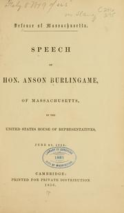 Cover of: Defence of Massachusetts. | Anson Burlingame