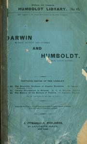 Cover of: Darwin and Humboldt |