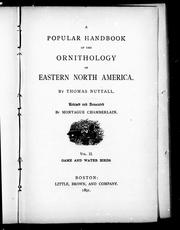 Cover of: A popular handbook of the ornithology of eastern North America | Nuttall, Thomas