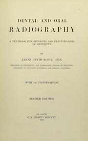 Cover of: Dental and oral radiography | James David McCoy