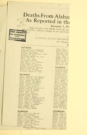 Cover of: Deaths from Alabama in the European war as reported in the Official U. S. bulletin January 1, 1918 | Alabama. Dept. of archives and history
