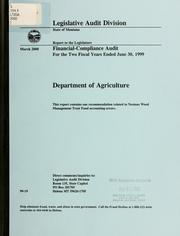 Department of Agriculture, financial-compliance audit for the two fiscal years ended .. by Montana. Legislature. Legislative Audit Division.