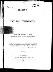 Cover of: Elements of natural theology | James Beaven