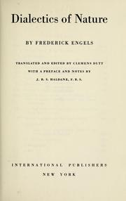 Cover of: Dialectics of nature | Friedrich Engels