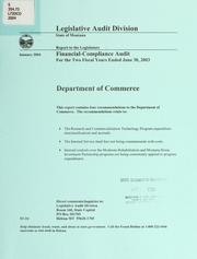 Department of Commerce financial-compliance audit for the two fiscal years ended June 30 .. by Montana. Legislature. Legislative Audit Division.