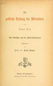 Cover of: Die geistliche Dichtung des Mittelalters | Paul Piper