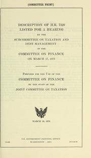 Cover of: Description of H. R. 7320 | United States. Congress. Joint Committee on Taxation