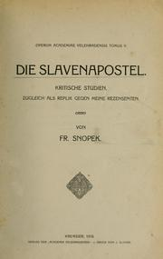 Cover of: Die Slavenapostel by Frantiek Snopek