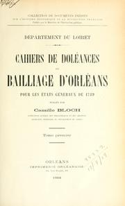 Cover of: D©Øepartement du Loiret by Bloch, Camille
