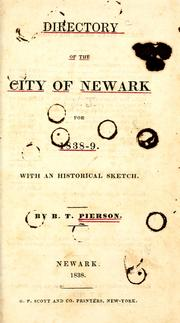 Cover of: Directory of the city of Newark, for 1838-9 by B. T. Pierson