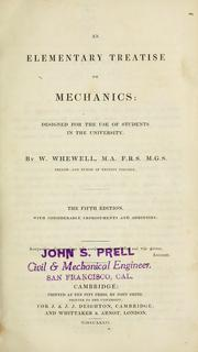 Cover of: An elementary treatise on mechanics by William Whewell