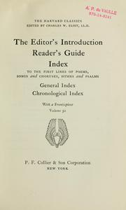 Cover of: The editor's introduction; reader's guide | Charles William Eliot
