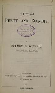 Cover of: Electoral purity and economy | Sydney Buxton