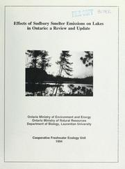 Cover of: Effects of Sudbury smelter emissions on lakes in Ontario | W. Keller