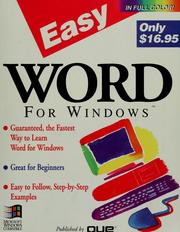 Cover of: Easy Word for Windows | Shelley O'Hara
