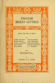 Cover of: English belles-lettres from 901 to 1834... |