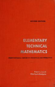 Cover of: Elementary technical mathematics | Frank L. Juszli