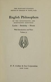 Cover of: English philosophers of the seventeenth and eighteenth centuries | John Locke