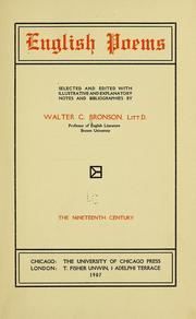 Cover of: English poems | Bronson, Walter Cochrane