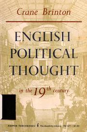 Cover of: English political thought in the 19th century