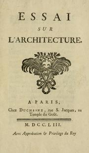 marc-antoine laugier an essay on architecture