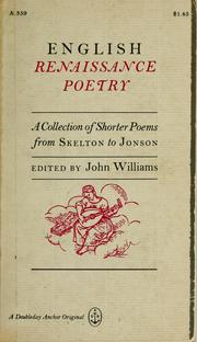 Cover of: English Renaissance poetry