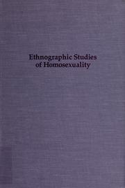 Cover of: Ethnographic studies of homosexuality | edited with introductions by Wayne R. Dynes and Stephen Donaldson.