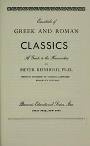 Cover of: Essentials of Greek and Roman classics | Meyer Reinhold