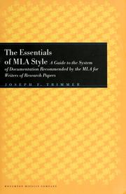 Cover of: The essentials of MLA style | Joseph F. Trimmer