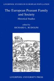 Cover of: European Peasant Family and Society | Richard L. Rudolph