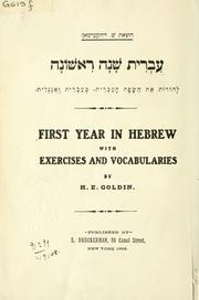 Cover of: First year in Hebrew | Hyman Elias Goldin