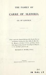 Cover of: Family of Carre of Sleford, Co. of Lincoln | Maurice Peter Moore