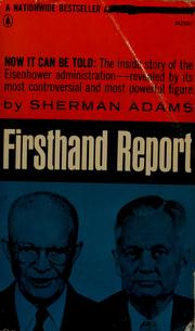 Cover of: Firsthand report | Sherman Adams