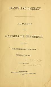 Cover of: France and Germany | Adolphe de Pineton marquis de Chambrun