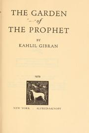 The Garden Of The Prophet 1933 Edition Open Library