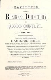 Cover of: Gazetteer and business directory of Addison County, Vt., for 1881- 82
