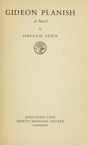 Cover of: Gideon Planish | Sinclair Lewis