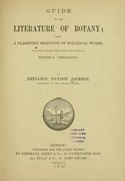 Cover of: Guide to the literature of botany. | Benjamin Daydon Jackson