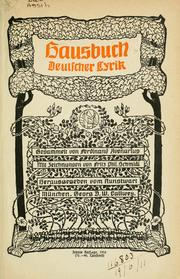 Cover of: Hausbuch deutscher Lyrik | Ferdinand Avenarius
