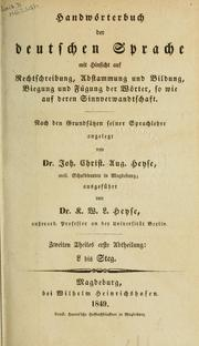 Cover of: Handwörterbuch der deutschen Sprache | Johann Christian August Heyse